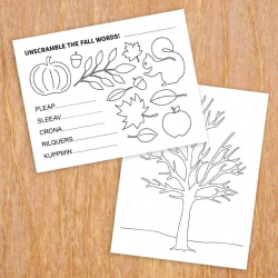 Fall Preschool Activities Set | Printable Activities for Kids | Autumn Word Scramble | Coloring Sheets | Educational Material | Language Learning Market
