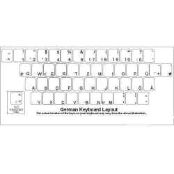 German Keyboard Stickers | German Language Keyboard Stickers | Blue or White Letters | Transparent Stickers Overlays | Clear German Computer Labels |  Deutsch