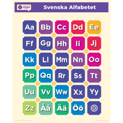 "Svenska SWEDISH Alphabet Poster | Learn Swedish Letters | Swedish ABCs | Printable Art Poster | Colorful | Homeschool or Classroom Decoration | 16"" x 20"" | 8.5"" x 11"""