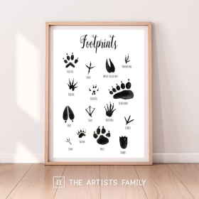 Animal Footprints | Downloadable Prints | Watercolor | Montessori Educational Poster for Kids | Children Room | Boys Girls Children Rooms | Learning Painting | Illustration | English