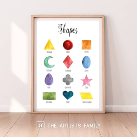 Geometric Shapes | Downloadable Prints | Watercolor | Montessori Educational Poster for Kids | Children Room | Boys Girls Children Rooms | Learning | Home | School | English