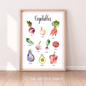 Vegetables | Downloadable Prints | Watercolor | Montessori Educational Poster for Kids | Children Room | Learning Painting | Food | Kitchen | Botanical Veggies | English
