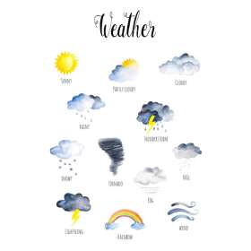 Weather   Downloadable Prints    Watercolor   Montessori Educational Posters for Kids   Children Rooms   Learning Painting   Nursery   Sun   Clouds   Storm   English