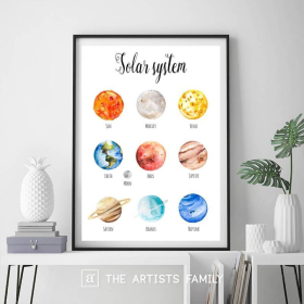 Planets Solar System | Downloadable Prints |  Watercolor | Montessori Educational Posters for Kids |  Boys Girls Children Rooms | Learning Painting | English