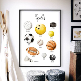 Sports Gear   Downloadable Prints   Watercolor   Montessori Educational Poster for Kids   Children Room   Boys Girls Children Rooms   Learning Illustration   English