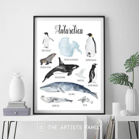 Antarctica Continent Animals | Downloadable Prints | Watercolor | Montessori Educational Poster for Kids | Children Room | Boys Girls Children Rooms | Learning Painting | Illustration | English