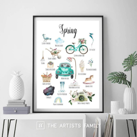 SPRING   Downloadable Prints   Watercolor   Montessori Educational Poster for Kids   Children Room   Boys Girls Children Rooms   Learning Painting   Wall Art   Nursery   Fun To Do List   English