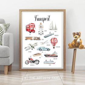 Transport | Vehicles | Downloadable Prints | Watercolor | Montessori Educational Poster for Kids | Children Room | Boys Girls Children Rooms | Learning | Ship | Airplane | Cars | Wall Art | Nursery | English