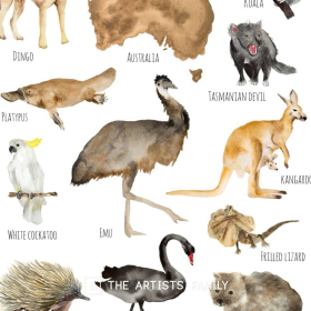 AUSTRALIA Continent Animals | Downloadable Prints | Watercolor | Australian Montessori Educational Poster for Kids | Children Room | Boys Girls Children Rooms | Learning Painting | Illustration | English