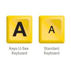 Keys-U-See Keyboard - Yellow | International Keyboards Large Keys | English Keyboard | Uppercase letters | Visual Impairment or Low Vision | Kids Keyboarding | Computer Keyboard | Typing | 10090103