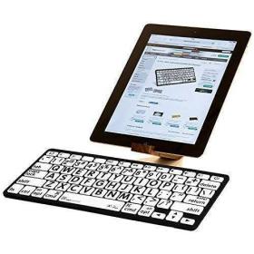 LogicKeyboard Large Print Bluetooth Mini Keyboard |  Black on White | For Apple iPad and iPhone  | English Keyboard | Computer Keyboard | Typing | LKBU-LPBW-BTON-US