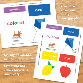 SPANISH Colors Flashcards   ESPAÑOL Colores   Printable Flash Cards   Learn Colors in Spanish   Homeschool, Classroom   Learning Resource   Language Learning Market