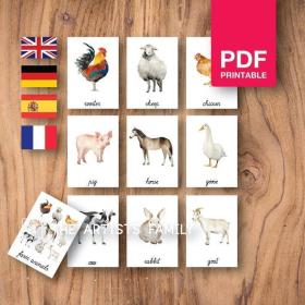 FARM ANIMALS Flash Cards | Watercolor | Montessori | Educational Resource | Homeschooling | PDF | German Spanish French English | Multilingual | Kids Art