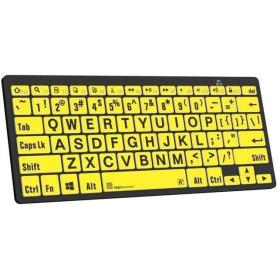 Logickeyboard Large Print Bluetooth Mini Keyboard   Black on Yellow   For Windows devices   English Keyboard   Computer Keyboard   Typing   LKB-LPBY-BTPC-US