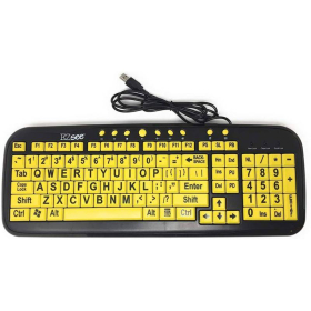 EZSee Large Print Keyboard   Yellow Keys with Black Letter   Bundled with Wireless Mouse & Magic Pad   International Keyboards Large Keys   English Keyboard   Uppercase letters   Computer Keyboard   Typing