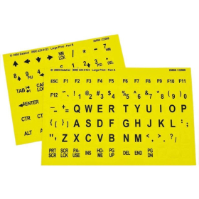 Large Print Keyboard Top Stickers   Yellow Background   Non-Transparent   Oversized Characters   Visually Impaired and Low Vision   Computer Keyboard Stickers Labels   English