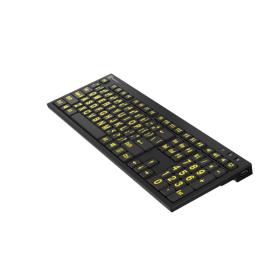 LargePrint Yellow on Black - PC Nero Slim Line Keyboard    International Keyboards Large Keys   English Keyboard   Uppercase letters   Computer Keyboard   Typing