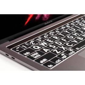 LargePrint White on Black - MacBook Pro 2016 Keyboard Cover  | International Keyboards Large Keys | English Keyboard | Uppercase letters | Computer Keyboard | Typing