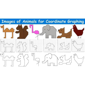 Images of animals for coordinate graphing