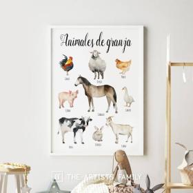 Animales de Granja Espanol Espanol - Spanish   Downloadable Prints   Acuarela   Montessori   Niños   Posters Educativos   Aprender a Pintar   Guardería   Impresos Descargables   Farm   Español - Spanish