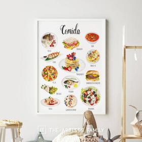 Comidas Espanol - Spanish | Downloadable Prints | Acuarela | Montessori | Niños | Posters Educativos | Aprender a Pintar | Guardería | Impresos Descargables | Español - Spanish