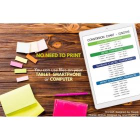 LENGTH CONVERSION CHART   Educational poster   Math   Rainbow colors   Classroom Wall Art Poster   Printable   Digital Download