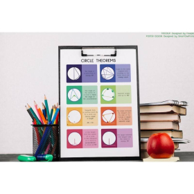 CIRCLE THEOREMS | Educational poster | Geometry poster | Circle | Math | Rainbow colors 2 | Classroom Wall Art Poster | Printable | Digital download