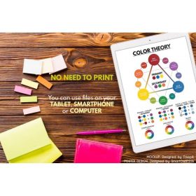 COLOR THEORY poster | Color Wheel | Educational poster | Math | Rainbow colors | Classroom Wall Art Poster | Printable | Digital Download