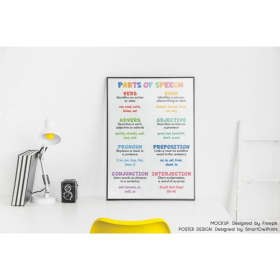 PARTS OF SPEECH for kids   Grammar Chart for Homeschool   Classroom Poster   Educational poster   Printable   Digital Download