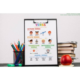 VERBS FOR KIDS | Types of verbs | Parts of speech | English Grammar Chart | Homeschool | Educational poster | Printable | Digital download
