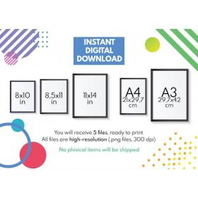 LENGTH CONVERSION CHART | Educational poster | Math | Rainbow colors | Classroom Wall Art Poster | Printable | Digital Download