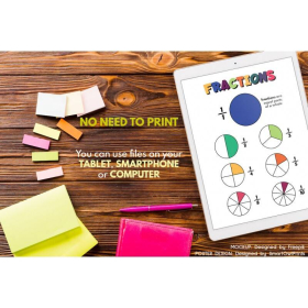 FRACTIONS | Educational poster for kids | Home school | Math | Rainbow colors 2 | Classroom Poster | Kid room poster | Printable | Digital download