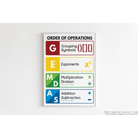 GEMDAS POSTER | Math Teacher Gift | Printable Educational Posters | Math Rules | Rainbow colors | Classroom Wall Art Poster | Digital Download | English