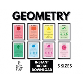 GEOMETRY SHAPES CHARTS for kids | Geometry poster | Educational poster | Math | Classroom Poster | Printable | Digital download | Set of 8 posters