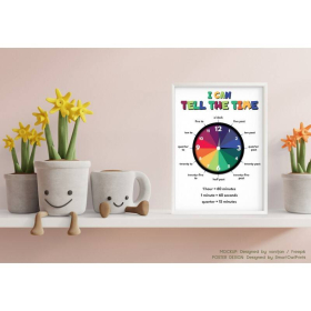 Learn to TELL TIME educational poster | What Time Is It? Clock | Teaching Tool | Rainbow colors | Classroom Decor | Printable | Digital download