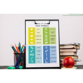 MATH SYMBOLS POSTER | Mathematical symbols | Educational poster | Numeracy | Classroom Wall Art Poster | Printable | Digital download