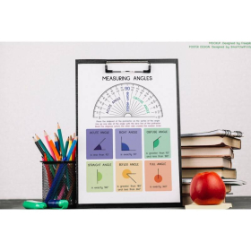 How to MEASURE ANGLES | How to use a PROTRACTOR | Geometry | Educational poster | Math | Classroom Wall Art Poster | Prinable, digital download