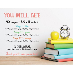 MULTIPLICATION WORKSHEETS | 90 pages + 3 diplomas | Math Drill | Written multiplication | School | Rainbow colors | Printable | Digital download | Smart Owl Prints