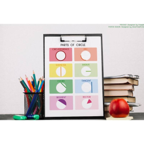 PARTS OF CIRCLE | Educational posters | Geometry math poster | Circle | Rainbow colors | Classroom Wall Art Poster | Printable | Digital download