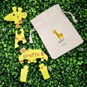 English + French Giraffe Puzzle | Bilingual Puzzle | Wooden Toy | Montessori Learning | French Language Toys | Play Set | Language Learning Market