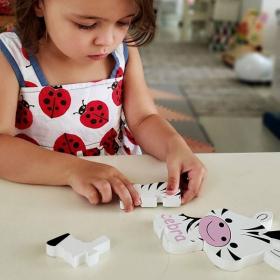 French + English Zebra Puzzle | Bilingual Puzzle | Wooden Toy | Montessori Learning | French Language Toys | Play Set | Language Learning Market