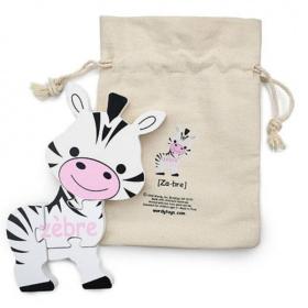 English + French Zebra Puzzle | Bilingual Puzzle | Wooden Toy | Montessori Learning | French Language Toys | Play Set | Language Learning Market