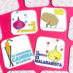 Half + Medio: Veggies | A Dual Language Memory Card Game | Language Learning Games | Vocabulario en Ingles | Veggies - Vegetales | Spanish Español Game | Language Learning Market
