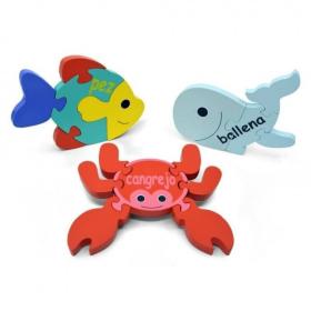 English + Spanish Sea Puzzle Set   Bilingual Puzzle   Wooden Toy   Montessori Learning   Spanish Language Toys   Play Set   Language Learning Market