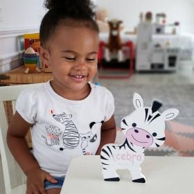 Spanish + English Zebra Puzzle | Bilingual Puzzle | Wooden Toy | Montessori Learning | Spanish Language Toys | Play Set | Language Learning Market