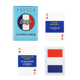 French Playing Cards | Sturdy Travel Case | Bilingual French - English Travel Phrases | French Flag Cards | Language Learning Game Set | Useful Français Phrases | Language Learning Market
