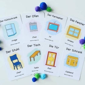 German Flashcards - In my Home   Bilingual Flashcards   Household Items   Language Learning Flashcards   Learn House Vocabulary in German   Teach Kids German