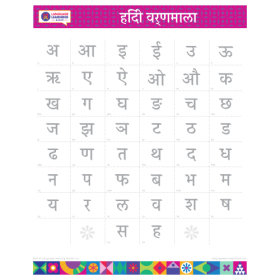 "HINDI Alphabet Poster   हिन्दी   Learn Hindi Letters   Printable   Preschool   Educational   Homeschool or Classroom Decoration   16"" x 20""   8.5"" x 11"""