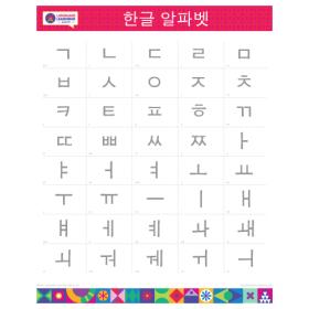 "KOREAN Alphabet Poster   한국어   Learn Korean Characters   Printable   Preschool   Educational   Homeschool or Classroom Decoration   16"" x 20""   8.5"" x 11"""