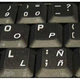 Spanish Keyboard Stickers   Español   Spanish Language Keyboard Stickers   White or Blue Letters   Transparent Keyboard Stickers Labels